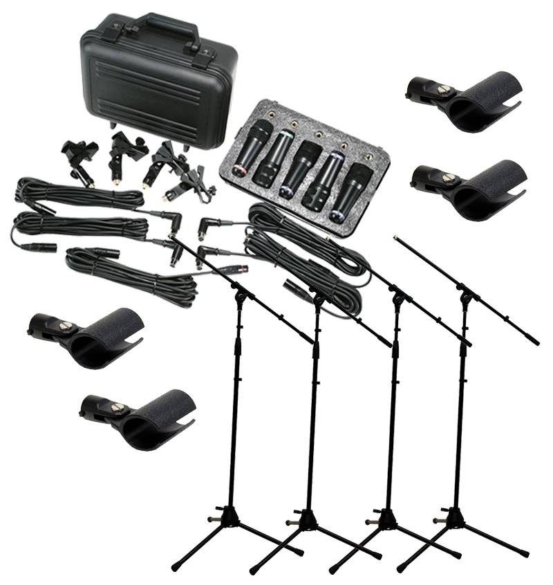 Peavey Pvm Dms-5 Drum 5 Piece Recording Mic Package & (4) Microphone Boom Stands by