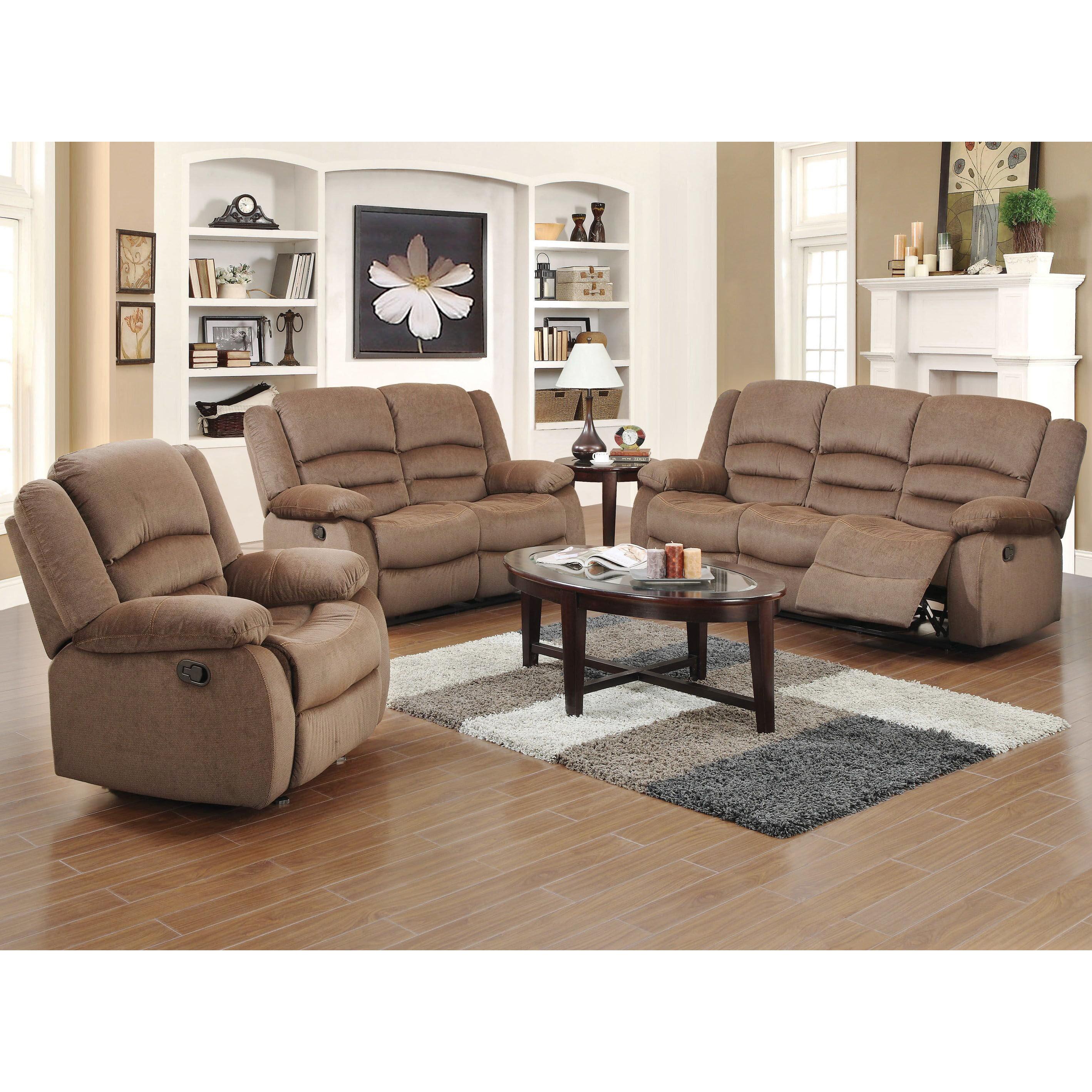 US Pride Furniture Dallas Contemporary 3-piece Fabric Reclining Sofa Set, Light Brown, S6023-3PC