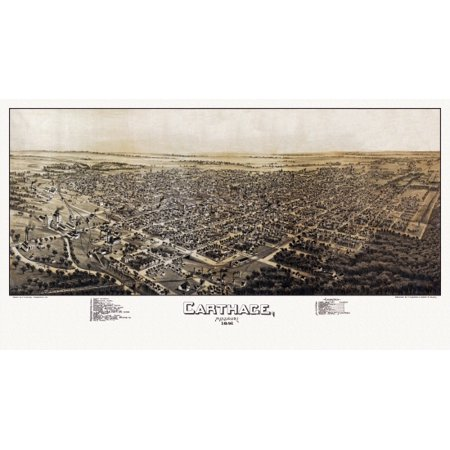 Antique Map of Carthage Missouri 1891 Jasper County Stretched Canvas -  (18 x 24) (Jasper Antique)