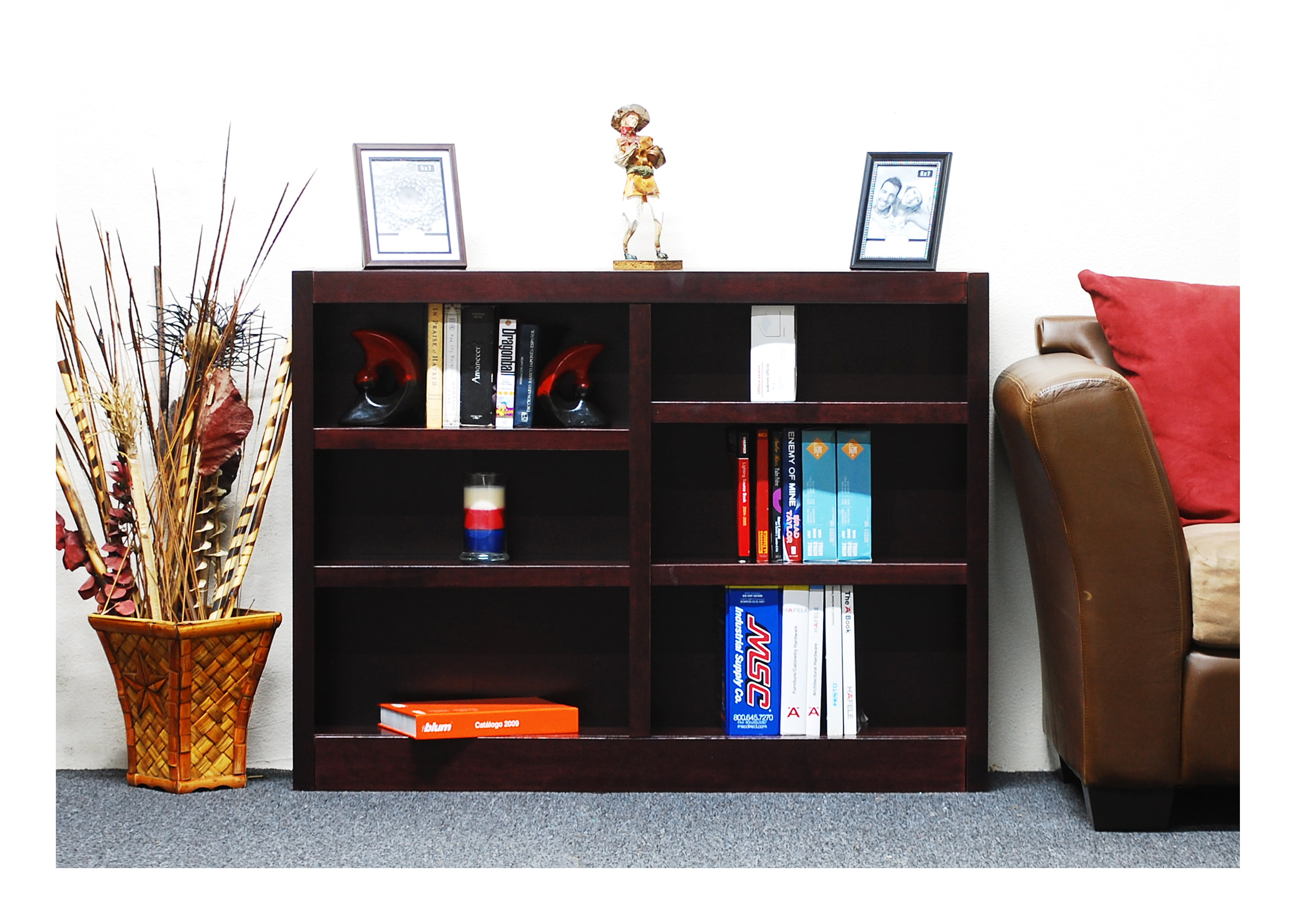 Concepts In Wood 6 Shelf Double Wide Wood Bookcase 36 Inch