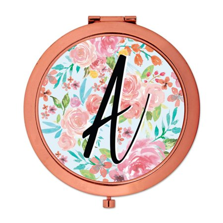 Andaz Press Compact Mirror Bridesmaid's Wedding Gift, Rose Gold, Monogram Letter A, Tea Party Pink Floral Flowers, - Monogram Wedding Letter