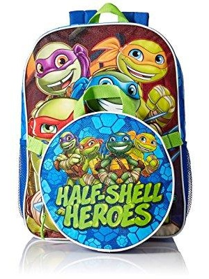 nickelodeon boys' tmnt 16 backpack with detachable lunch tote, blue