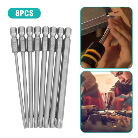 Adjustable Hex Screwdriver - 8-pack 1/4 Inch Hex Shank T8-T40, S2 Steel Hex Torx Security Head Drill Screwdriver Set Bits