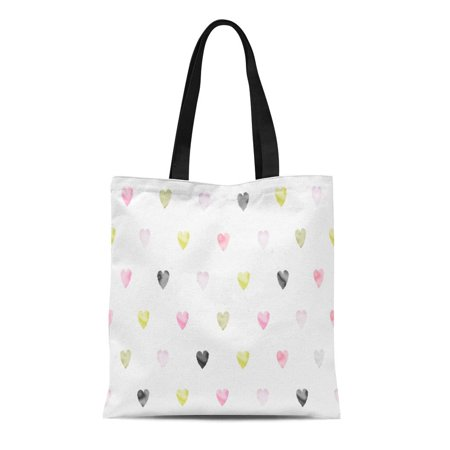 ASHLEIGH Canvas Tote Bag Watercolor Hearts Pattern Tony Pink Gold Grey Beige Reusable Shoulder Grocery Shopping Bags (Gold Tory Burch Bag)