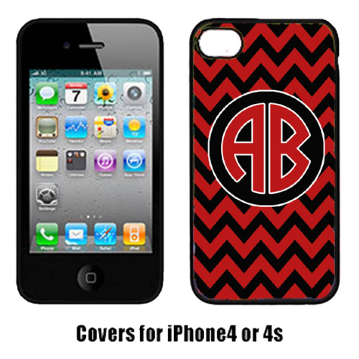 Carolines Treasures CJ1055-CUSTOM-IP4 Chevron Cardinal And White For Arkansas Cell Phone Cover Iphone 4