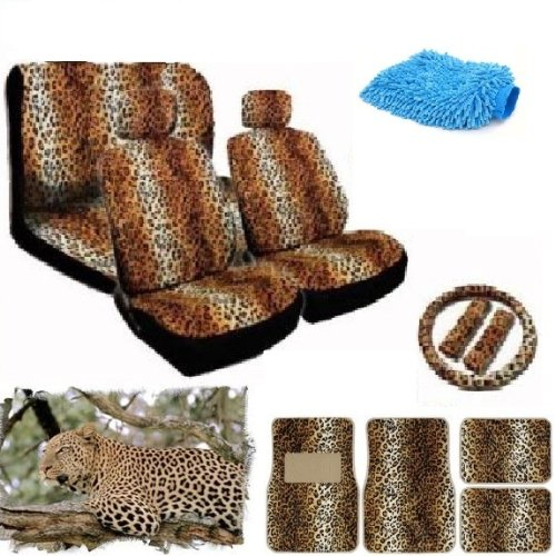 New Premium Grade 16 pieces Brown Leopard Interior Seat Cover set With Front Low Back Seat Covers, Rear Bench Seat Cover 4 Pieces Tan Leopard Floor Mat set WITH FREE Microfiber WASH MITT