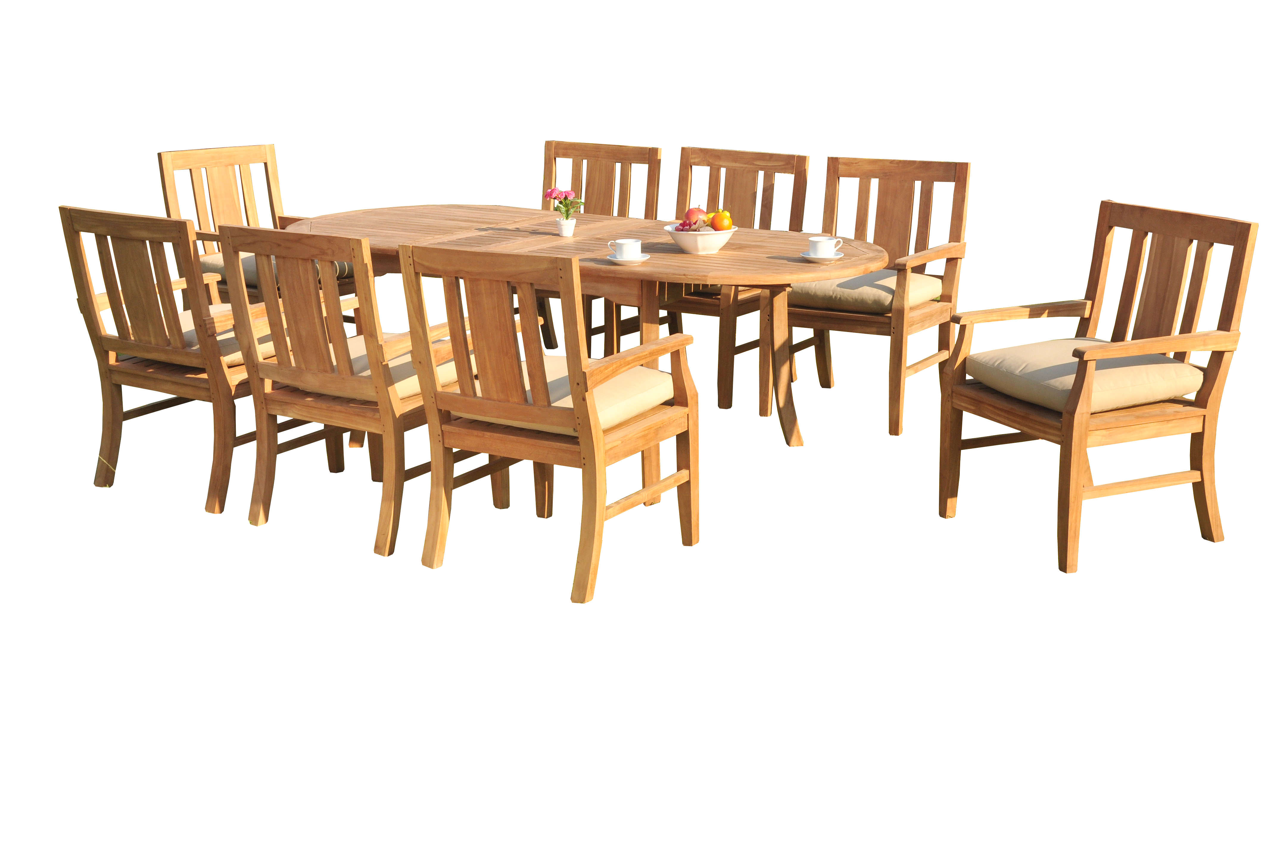 "9 PC A Grade Outdoor Patio Teak Dining Room Set 94"" Double Extension Oval Table & 8 Osawa Armchairs by"