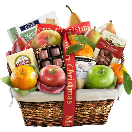 Golden State Fruit Merry Christmas Classic Deluxe Fruit Gift Basket, 16 pc ()