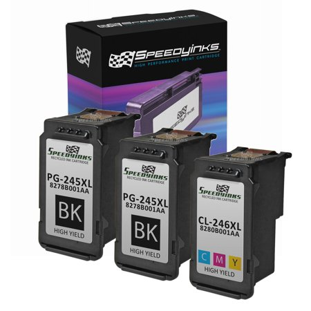 Speedy Inks - Remanufactured Canon PG-245XL CL- PG-245XL 8278B001AA CL-246XL 8280B001AA Set of 3 2 Black 1 Color for use in Canon PIXMA MG2420, Canon PIXMA MG2520, Canon Pixma iP2820 ()