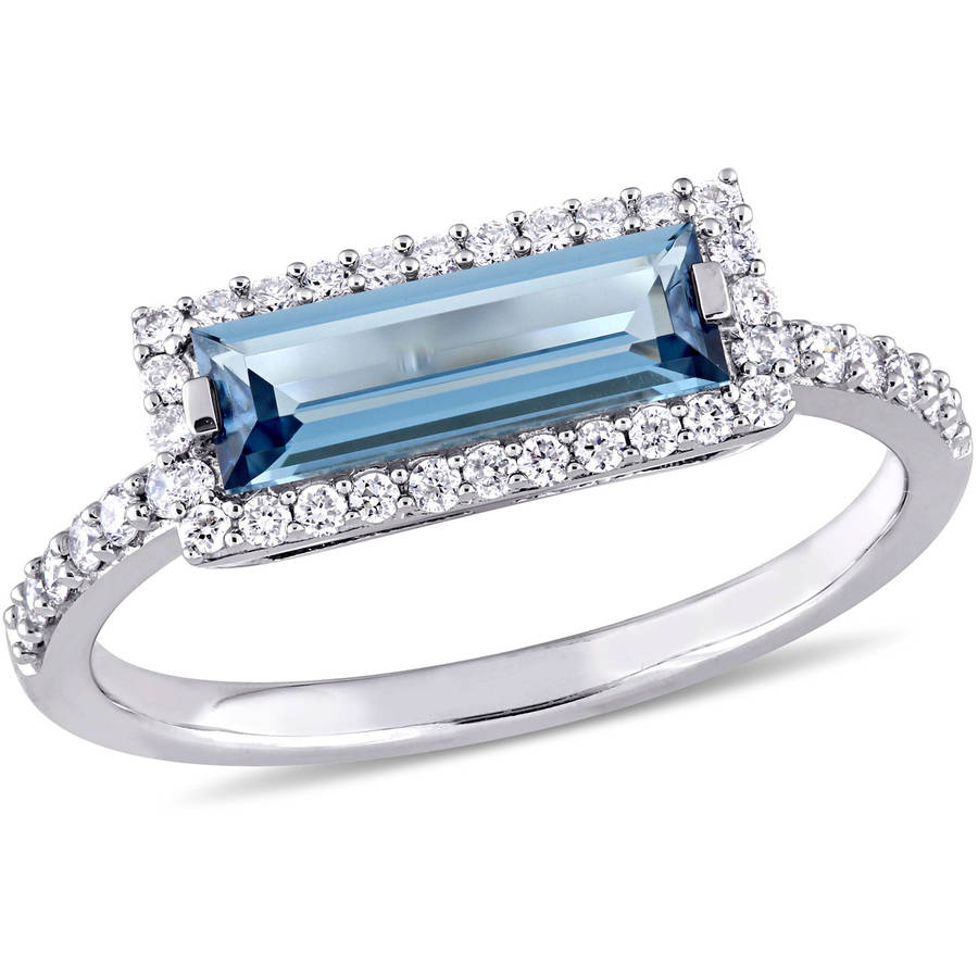 Tangelo 1-3 5 Carat T.G.W. London Blue Topaz and 1 4 Carat T.W. Diamond 14kt White Gold Cocktail Ring by Tangelo