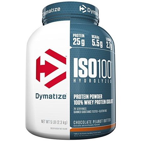 Dymatize ISO 100 Hydrolyzed 100% Whey Protein Isolate Powder, Chocolate Peanut Butter, 25g Protein, 5 Lb, 80 Oz