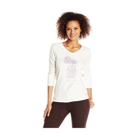 Life is Good Womens Crusher Vee Half Jar Graphic T-Shirt ivory (Graphic Crusher)