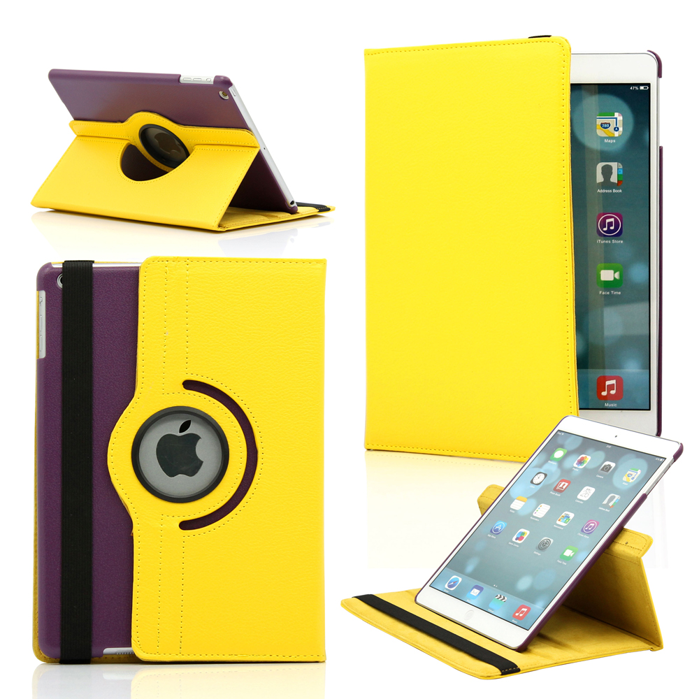 Los Angeles 360 Degree Rotating PU Leather Case Smart Cover With Swivel Stand for Apple iPad Air -Yellow & Purple