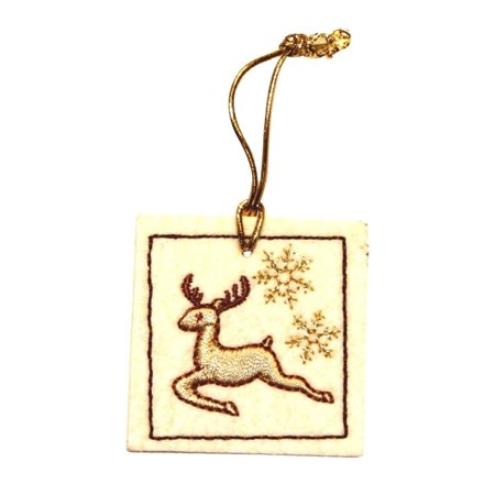 ID 8095 Reindeer Bag Tag Patch Christmas Present Gift Felt Iron On Applique (Present Bag)