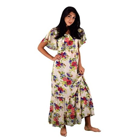 Peach Couture Womens Summer Gypsy Bohemian Vintage Floral Long Maxi Dress White Medium