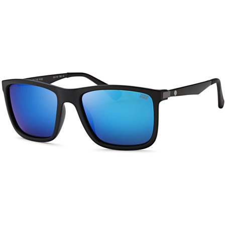 Hawaiian Island Creations Rectangular Classic Designer Black High Quality Sunglasses TR90 With Aluminum Arm Shark - Black Frame / Blue (High Quality Designer Sunglasses)