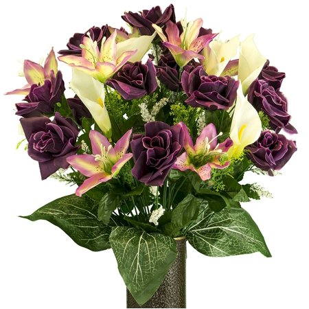 355d5e1c8741 Yellow Rose with Purple Tiger Lily, Artificial Bouquet, featuring the  Stay-In-The-Vase Design(c) Flower Holder (MD2075) - Walmart.com