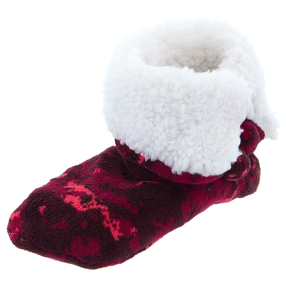 Red Santa Camo Soft Bootie Slippers for Women