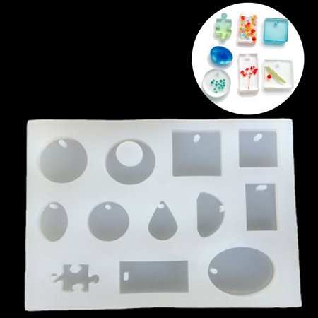 12 Silicone Mold Mould For DIY Resin Pendant Jewelry Making Craft 5.7'' x 4.3