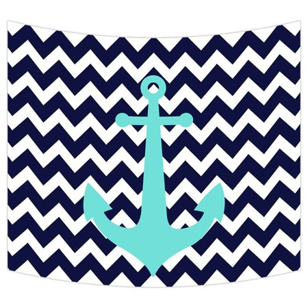 """GCKG Navy Blue Chevron Nautical Anchor Wall Art Tapestries Home Decor Wall Hanging Tapestry Size 60""""x90"""" - image 2 of 2"""