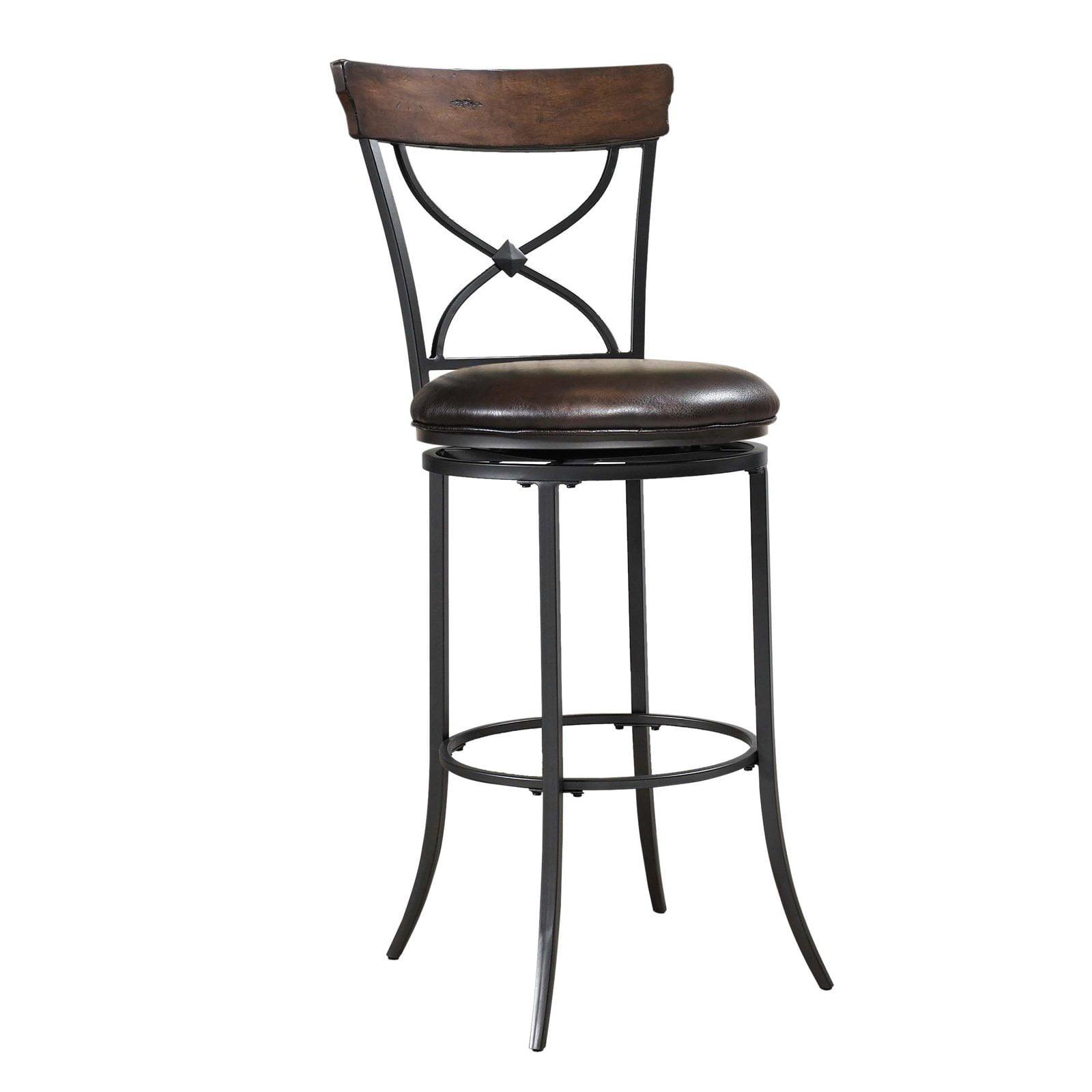 Hilale Furniture Cameron 44 5 X Back Swivel Bar Stool Chestnut Brown Finish