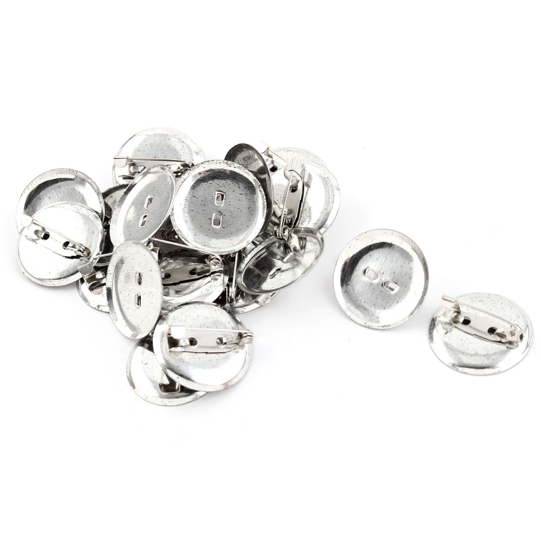 Metal Round Safety Pin Back Brooch Finding DIY Base Silver Tone 2.4cm Dia 20pcs