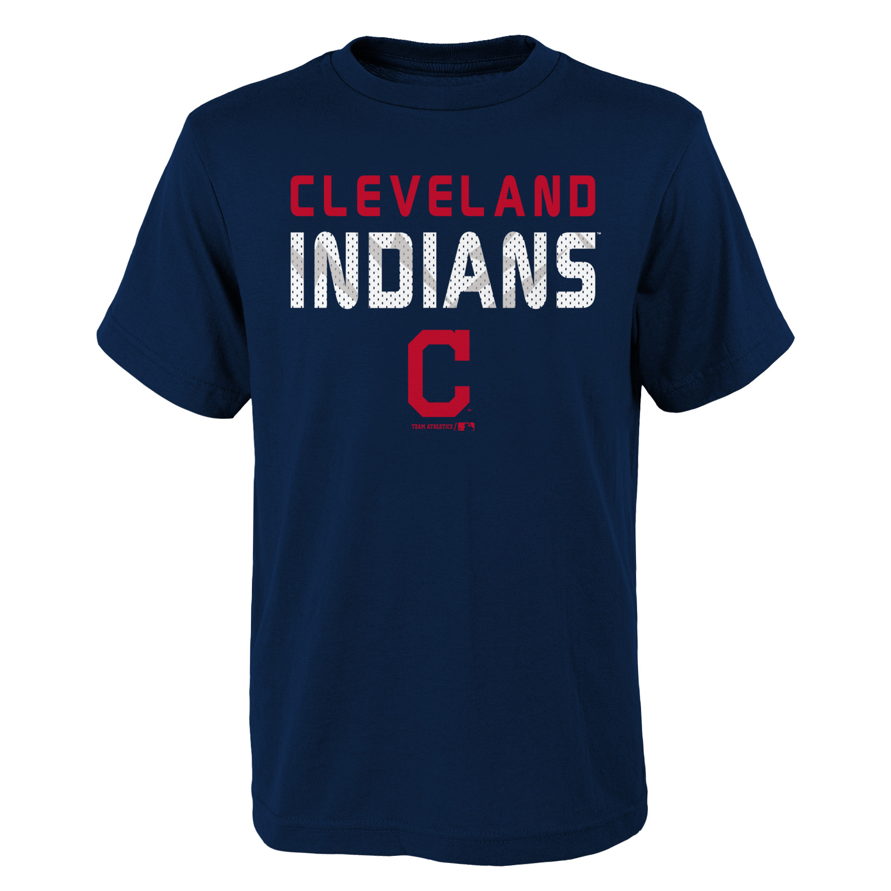 MLB Cleveland INDIANS TEE Short Sleeve Boys Team Name and LOGO 100% Cotton Team Color 4-18
