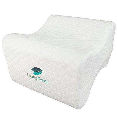 sciatic nerve pain relief knee pillow - best for hip, leg, knee, back and spine alignment - memory foam orthopedic leg pillow wedge with washable cover + free storage