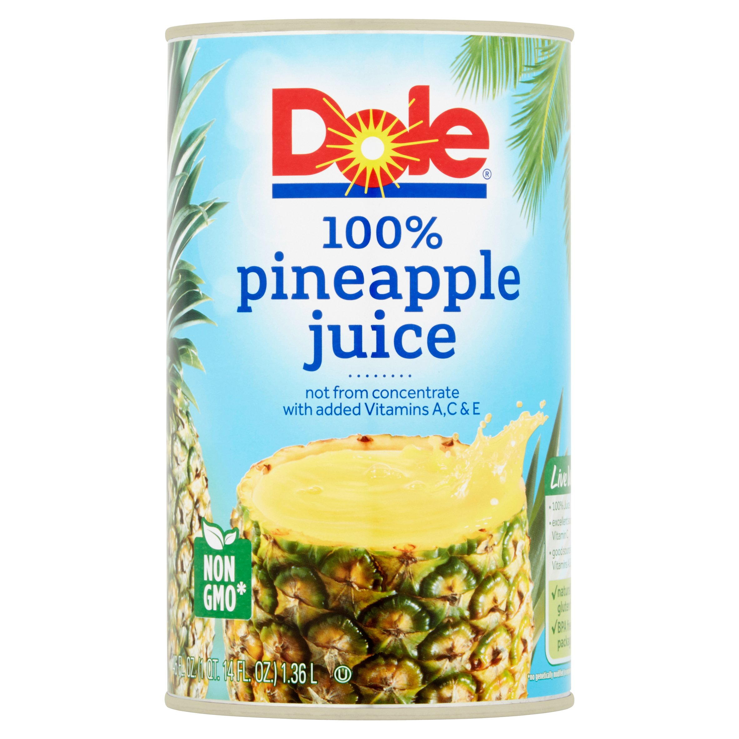 Dole 100% Pineapple Juice, 46 fl. oz. Can by Dole Packaged Foods, LLC