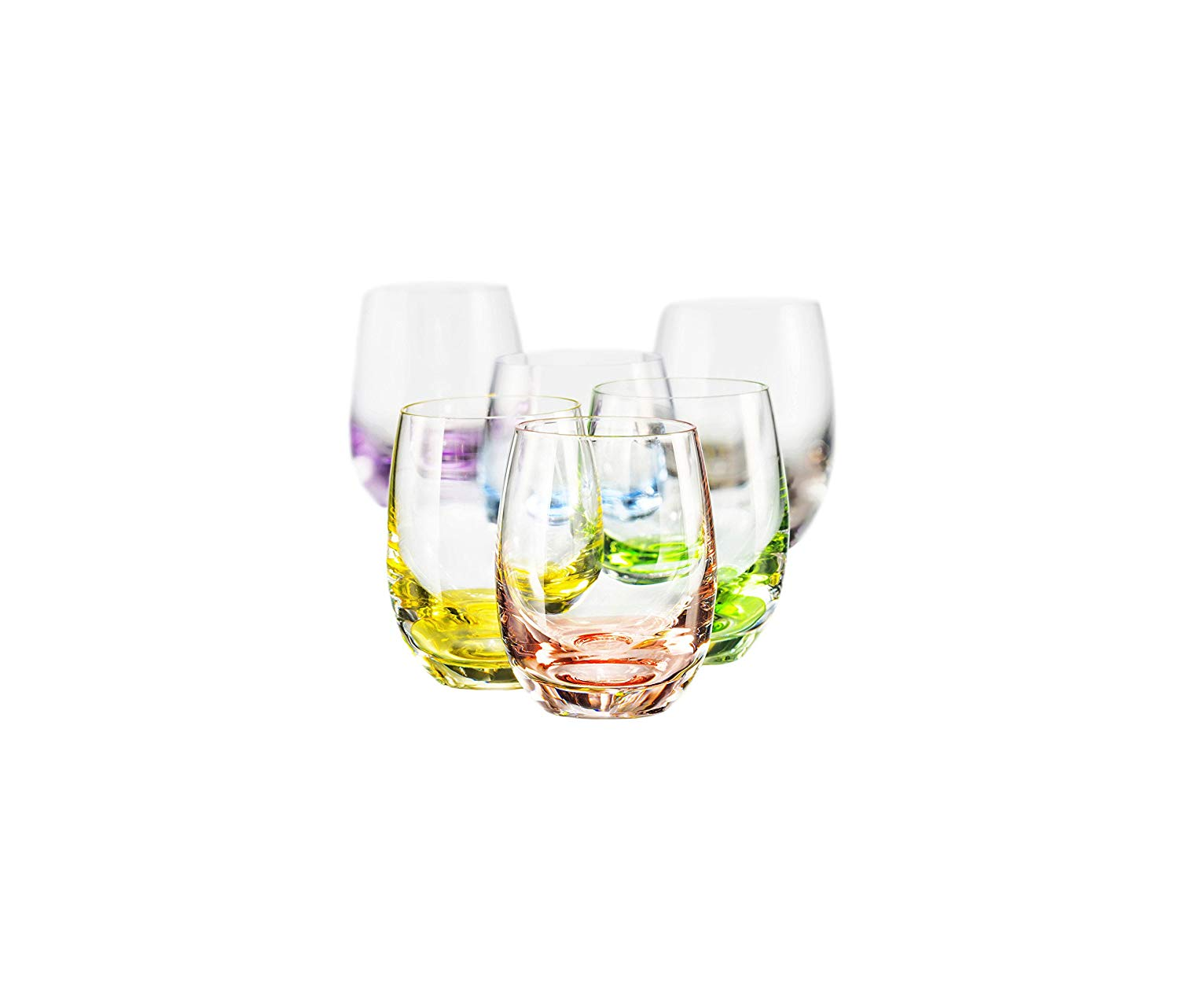 Bohemia Collection Rainbow Set Of 6 Shot Multi Colored Crystal Glasses 2 Oz Walmart Com Walmart Com