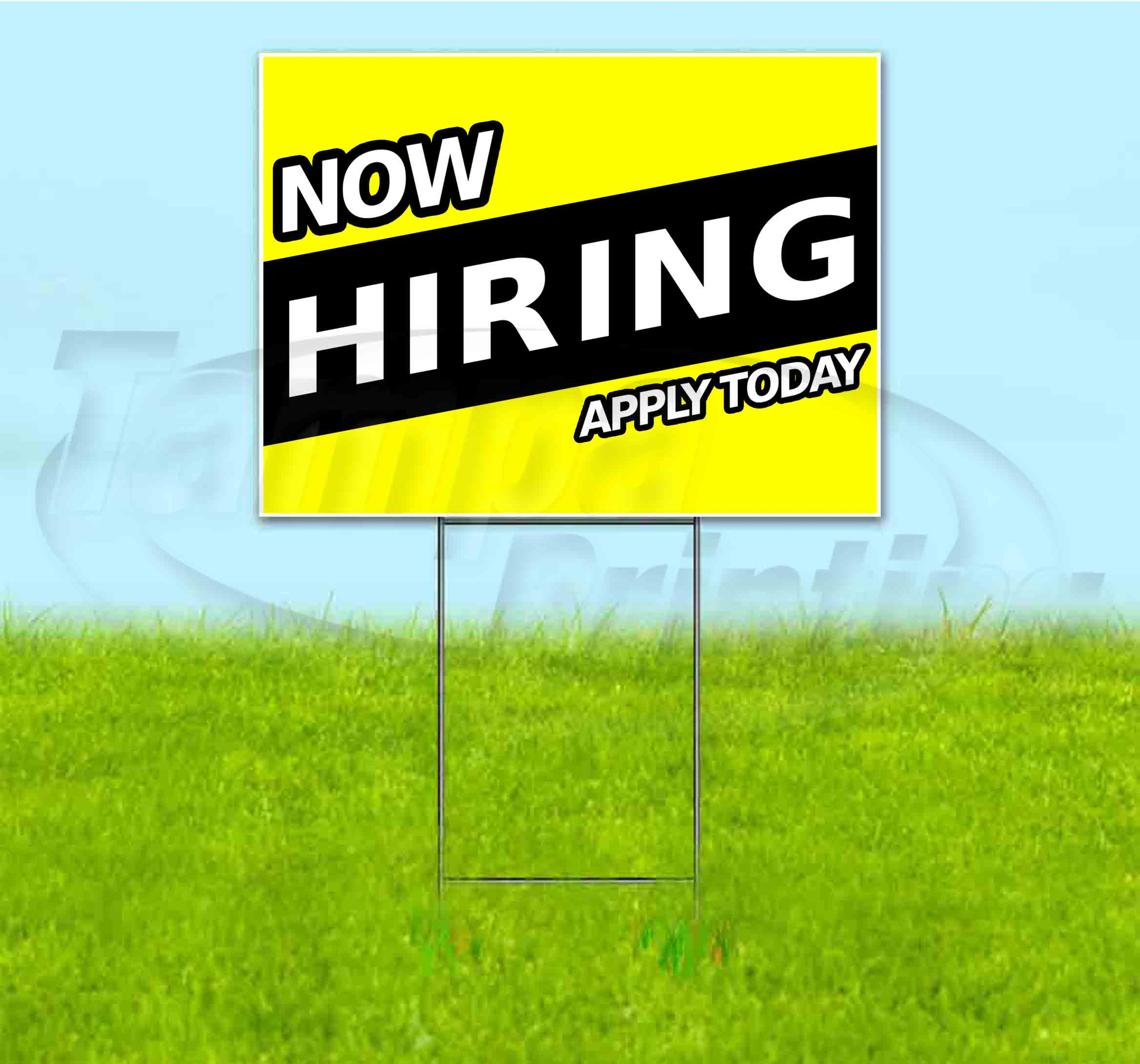 Now Hiring Apply Inside 18x12 CGSignLab 5-Pack Stripes White Double-Sided Weather-Resistant Yard Sign