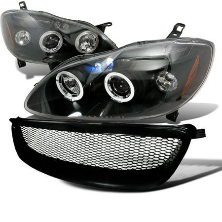 Spec-D Tuning 2003-2008 Toyota Corolla Headlight + Mesh Grill Grille Black 03 04 05 06 07 08