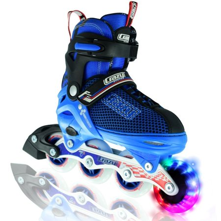 Crazy Skates Boy's LED Adjustable Inline Skates | Light up wheels | Adjusts to fit 4 Shoe Sizes | Blue with Mesh Boot | Pro Model (Pro Skate Boot)