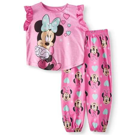 Toddler Girls' Minnie Mouse Short Sleeve Top and Pants, 2-Piece Pajama Set](Minnie Mouse Toddler Outfit)