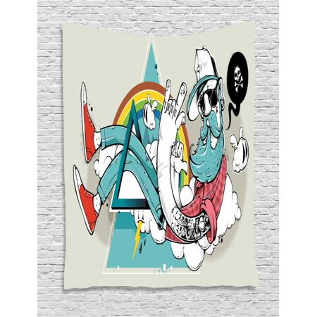 Hipster Tapestry, Tattooed Cool Dude with Long Beard Going Through Abstract Triangle Shape on Clouds, Wall Hanging for Bedroom Living Room Dorm Decor, 40W X 60L Inches, Multicolor, by Ambesonne (Dudes With Beards)