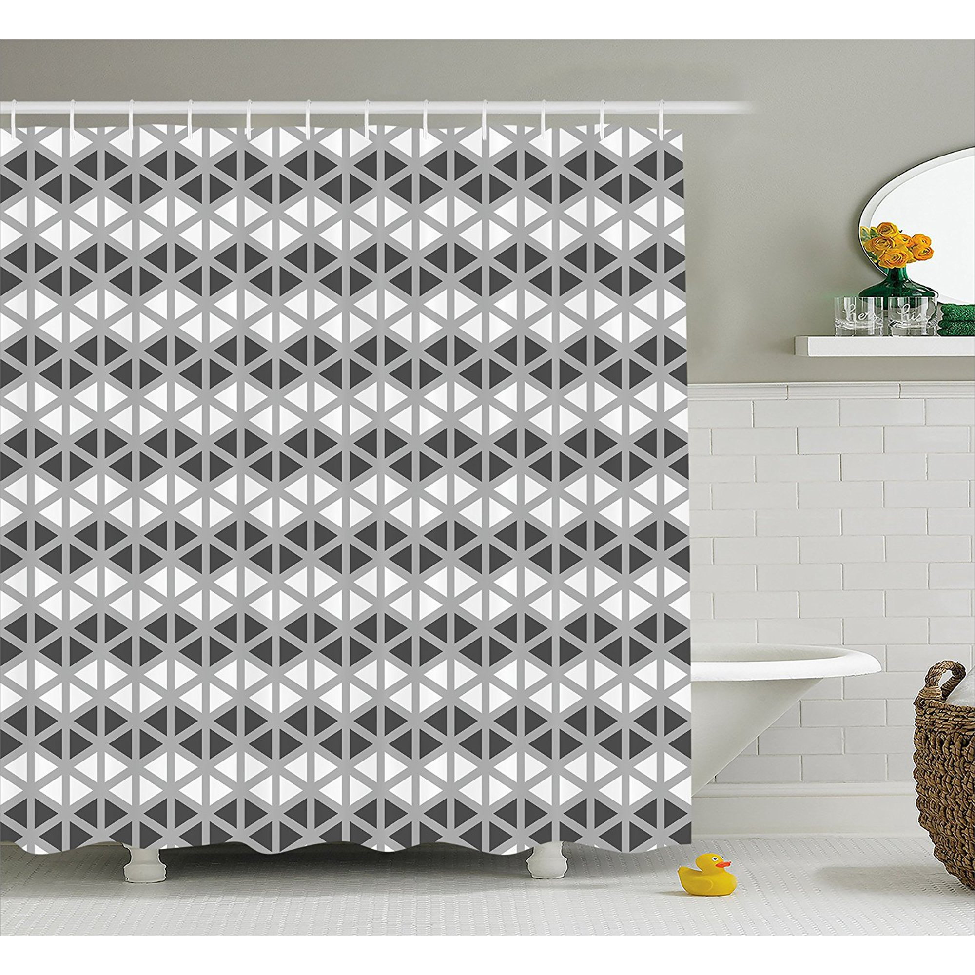 Grey Decor Shower Curtain By Triangle Sides Regular Polygon Shapes With Symmetrical Lines Dimensional Design Image Fabric Bathroom Decor Set With Hooks 84 Inches Extra Long White By Ambesonne Walmart Canada