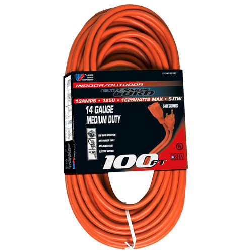 US Wire & Cable Corporation 100' Indoor/Outdoor Extension Cord, Red