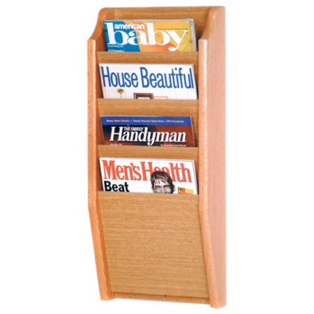 Wooden Mallet 4-Pocket Wood Wall Magazine (Natural Finish Wood Magazine Rack)
