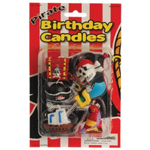 US Toy Pirate Birthday Cake Candles (6 Piece)