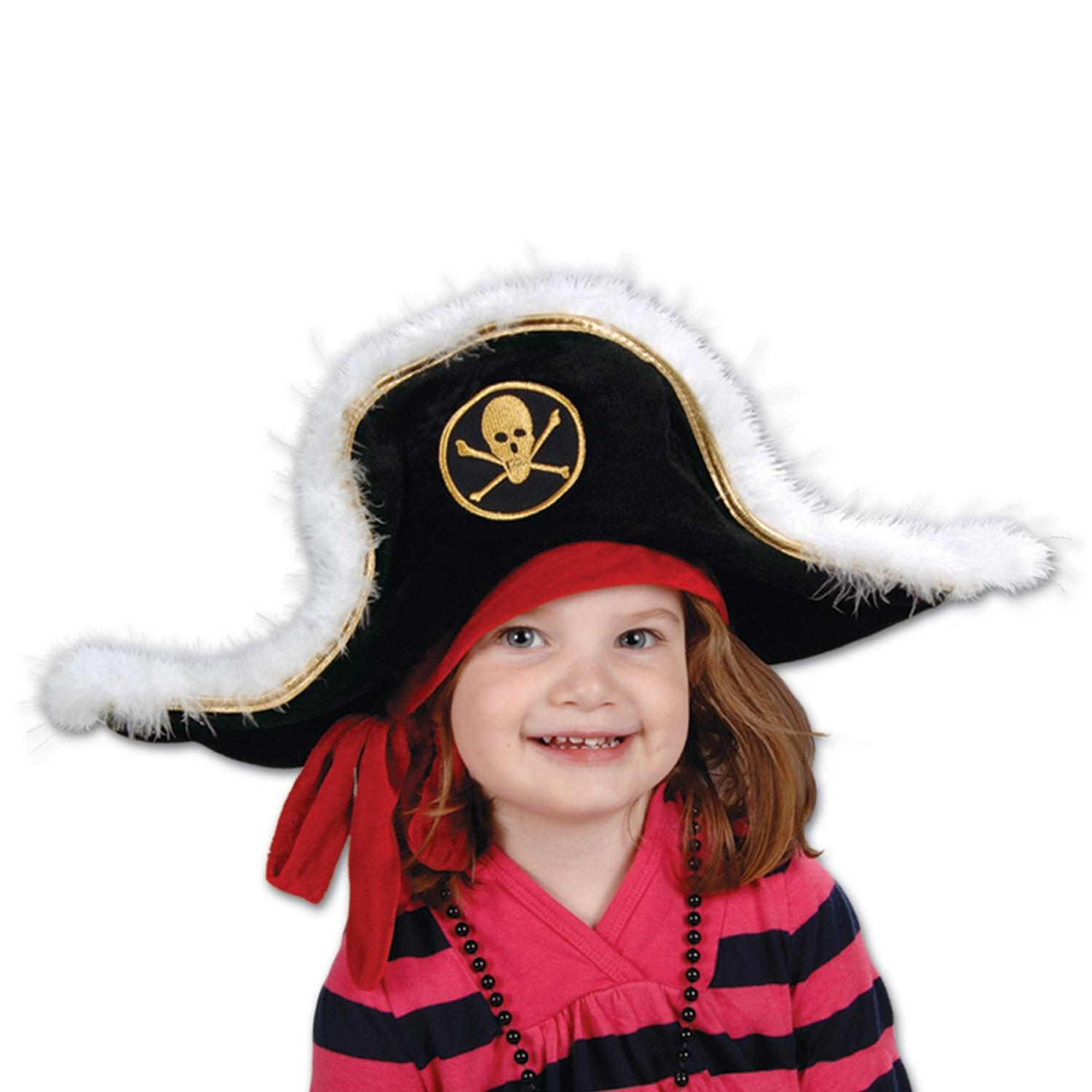Pack of 6 Black White and Gold Plush Pirate Captain's Party Hat - Child