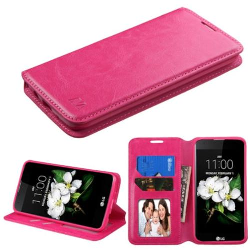 Insten Book-Style Leather Wallet Fabric Cover Case w/stand/card holder/Photo Display For LG K7 K8 - Hot Pink