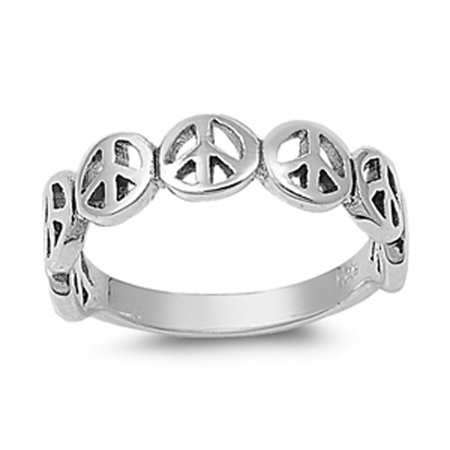 Oxidized Peace Sign Stackable Beautiful Ring ( Sizes 4 5 6 7 8 9 10 11 ) 925 Sterling Silver Band Rings by Sac Silver (Size 11)
