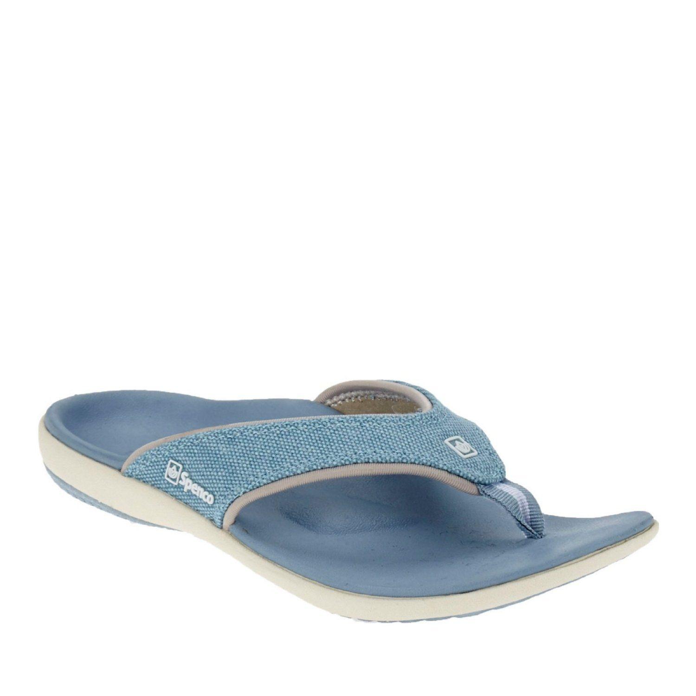Spenco Yumi Canvas Ocean Blue Women's Total Support Sandals Thong Flip Flops