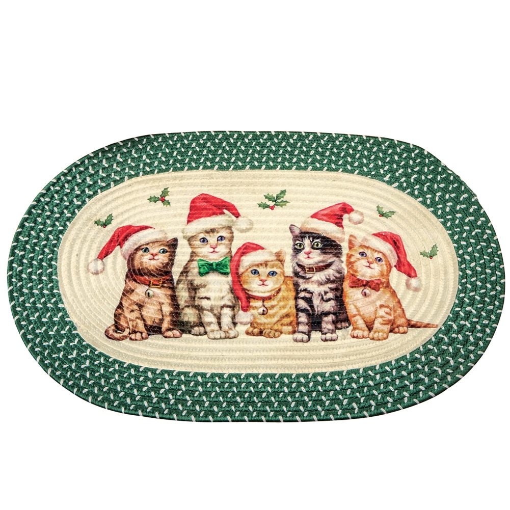 Christmas Santa Cats Accent Braided Rug by Collections Etc