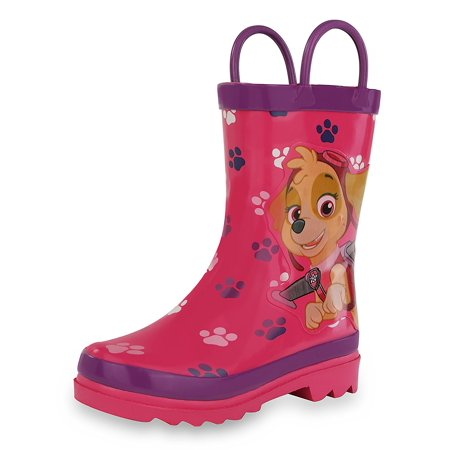 Little Girls Cowboy Boots (Nickelodeon Kids Girls' Paw Patrol Character Printed Waterproof Easy-On Rubber Rain Boots (Toddler/Little)