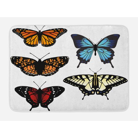 Swallowtail Butterfly Bath Mat, Five Different Butterflies Colorful Monarch Lady Insect Wings Spring, Non-Slip Plush Mat Bathroom Kitchen Laundry Room Decor, 29.5 X 17.5 Inches, Multicolor, Ambesonne (Monarch Bath Fixture)