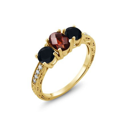 2.04 Ct Oval Checkerboard Red Garnet Black Onyx 18K Yellow Gold Plated Silver Ring](Checkered Flag Ring)