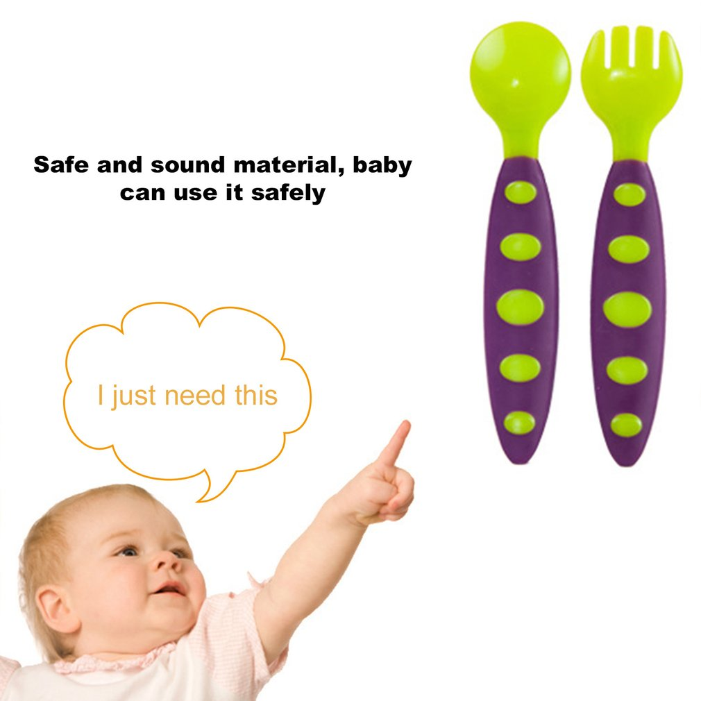 Baby Training Spoon Fork Set Children Utensil Safety Tableware For Infant Baby