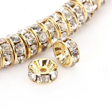 8mm Millefiori Glass - BRCbeads 8mm Gold Plated Crystal Rondelle 100pcs Spacer Beads for jewelery making Clear