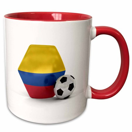 3dRose Colombia Soccer Ball - Two Tone Red Mug, 11-ounce